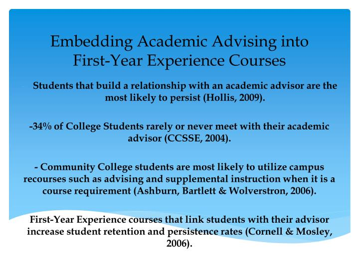 Embedding Academic Advising into First-Year Experience Courses