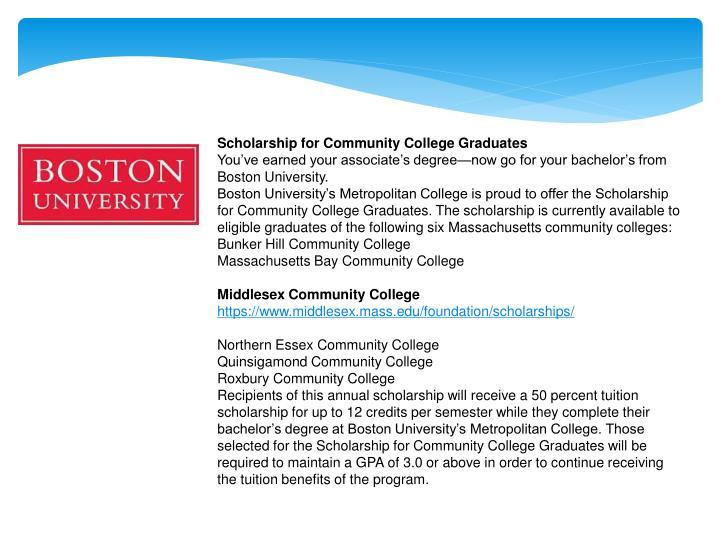 Scholarship for Community College Graduates