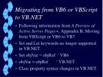 migrating from vb6 or vbscript to vb net