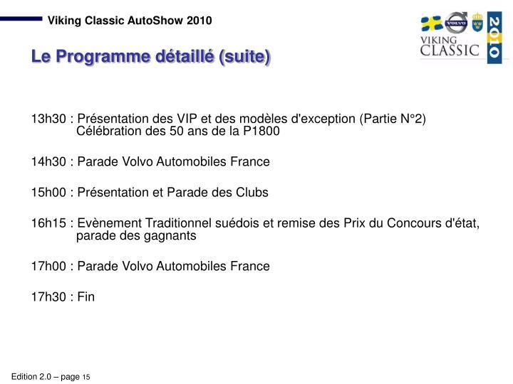 13h30 : Présentation des VIP et des modèles d'exception (Partie N°2)