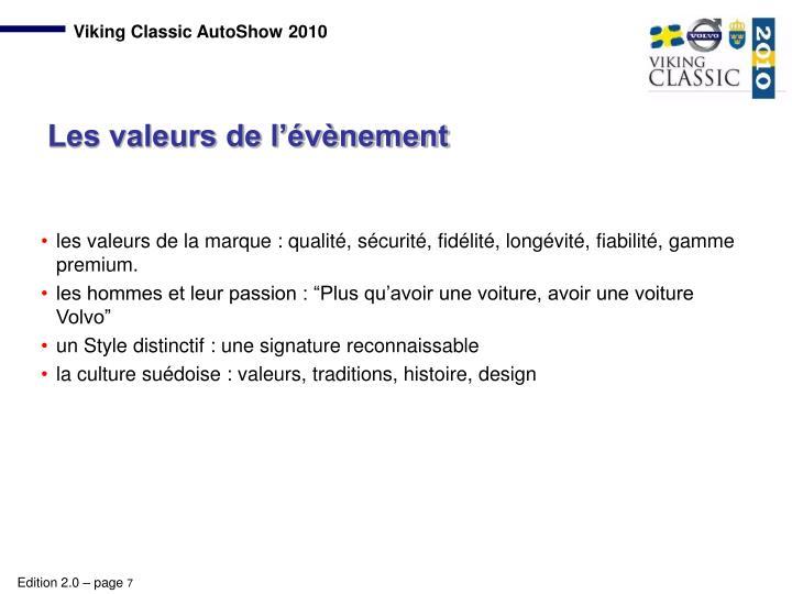 les valeurs de la marque : qualité, sécurité, fidélité, longévité, fiabilité, gamme premium.