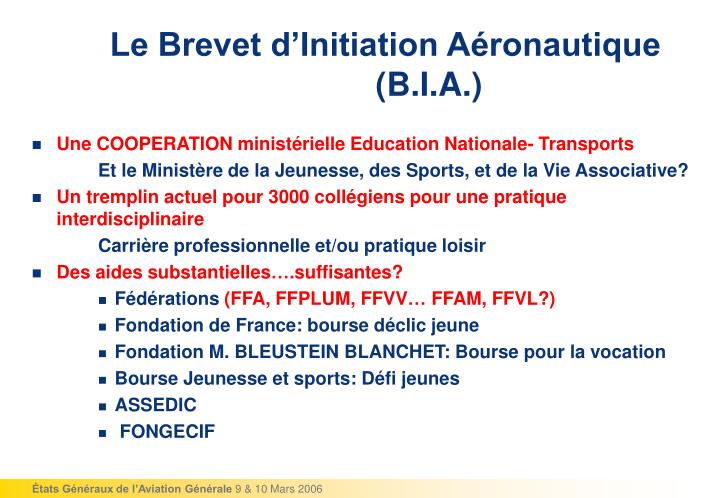 Le Brevet d'Initiation Aéronautique (B.I.A.)