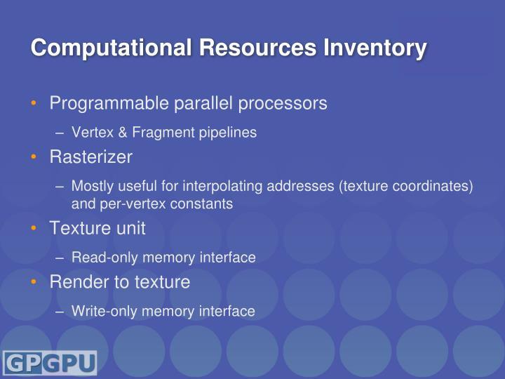 Computational Resources Inventory