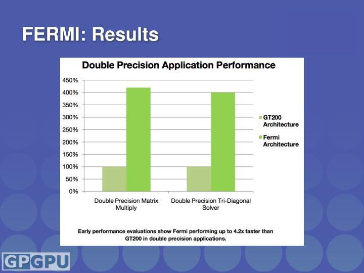 FERMI: Results