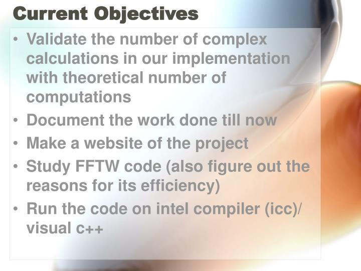 Current objectives