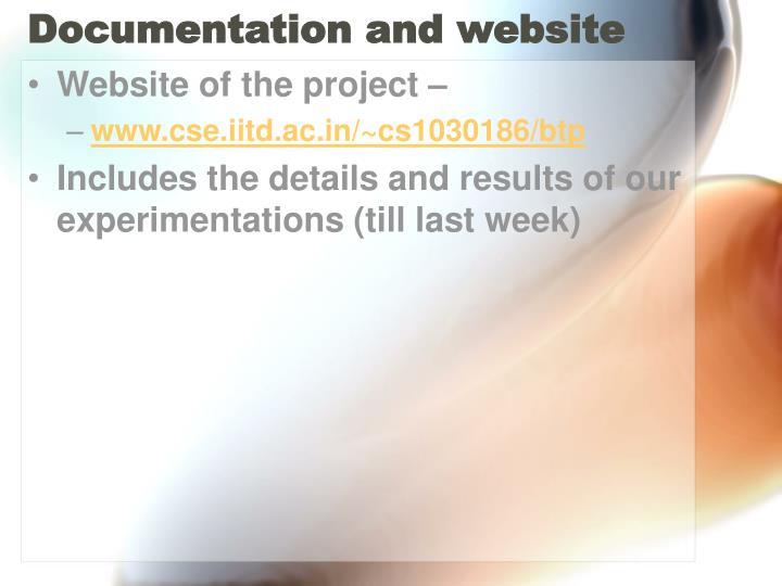 Documentation and website