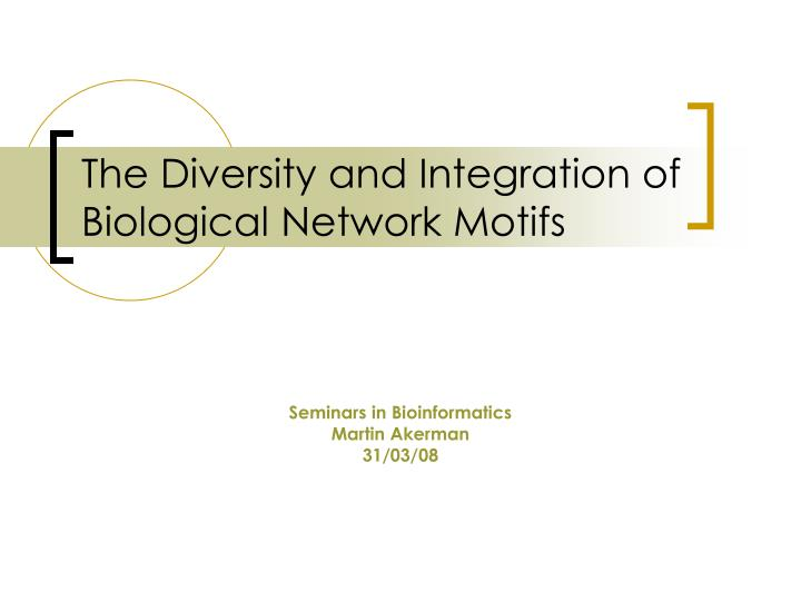 the diversity and integration of biological network motifs n.