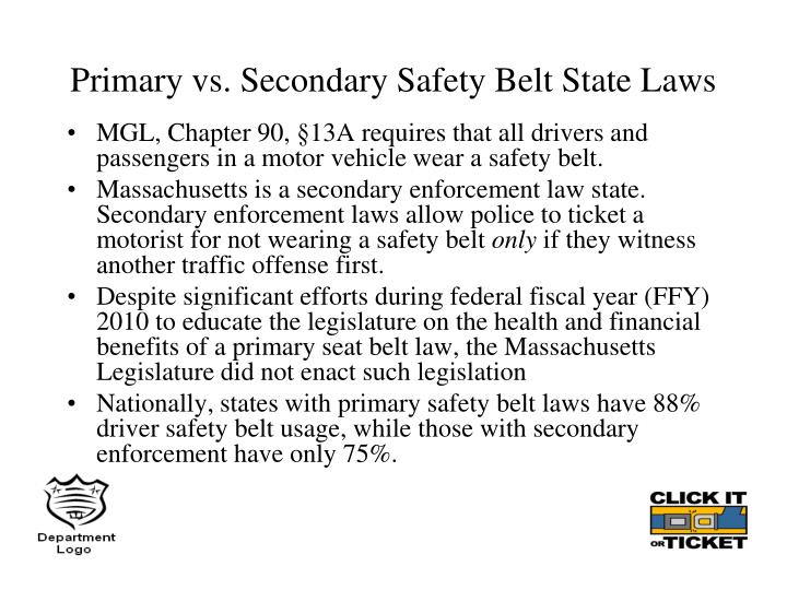 Primary vs. Secondary Safety Belt State Laws