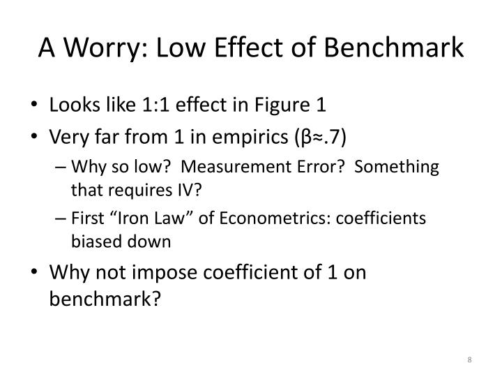 A Worry: Low Effect of Benchmark