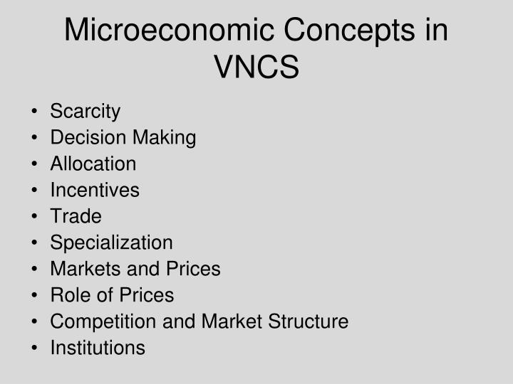 explain concepts of microeconomics In order to understand the concepts (microeconomics and macroeconomics) better, we can say that microeconomics is the study of an individual human being, an individual household, an individual firm or an individual industry etc with respect to how they use/divide their given scarce means among the possible alternative uses/ends in.