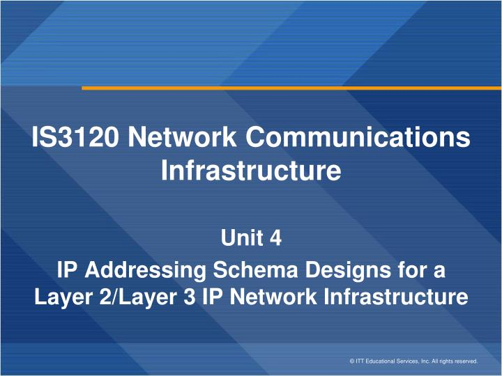 IS3120 Network Communications Infrastructure