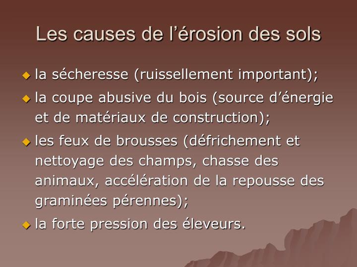 Les causes de l'érosion des sols