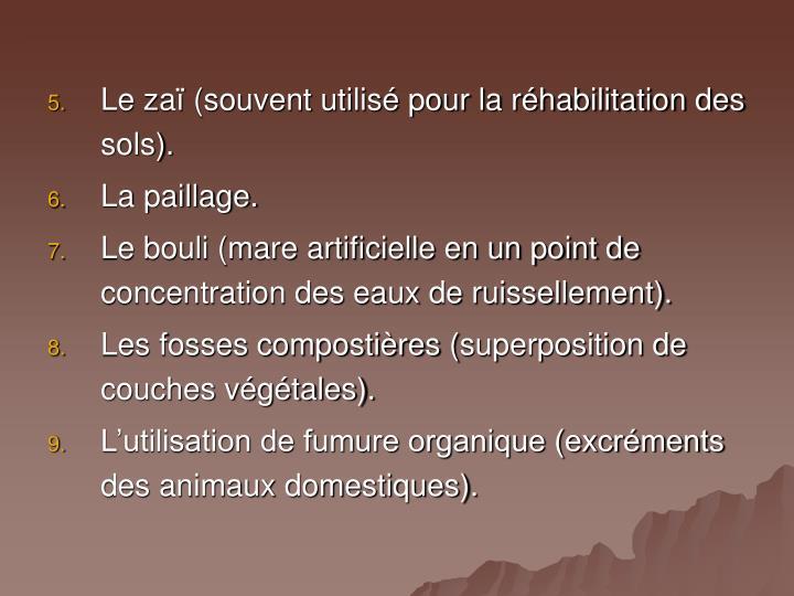 Le zaï (souvent utilisé pour la réhabilitation des sols).