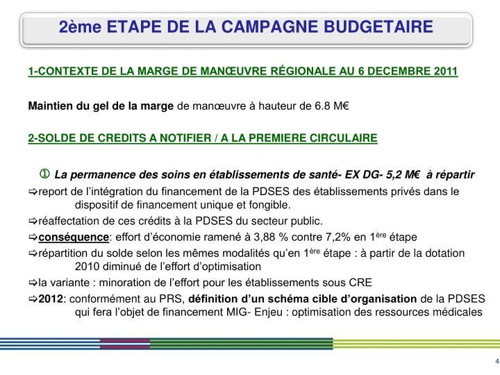 1-CONTEXTE DE LA MARGE DE MANŒUVRE RÉGIONALE AU 6 DECEMBRE 2011