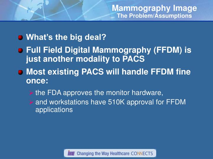 Mammography image the problem assumptions