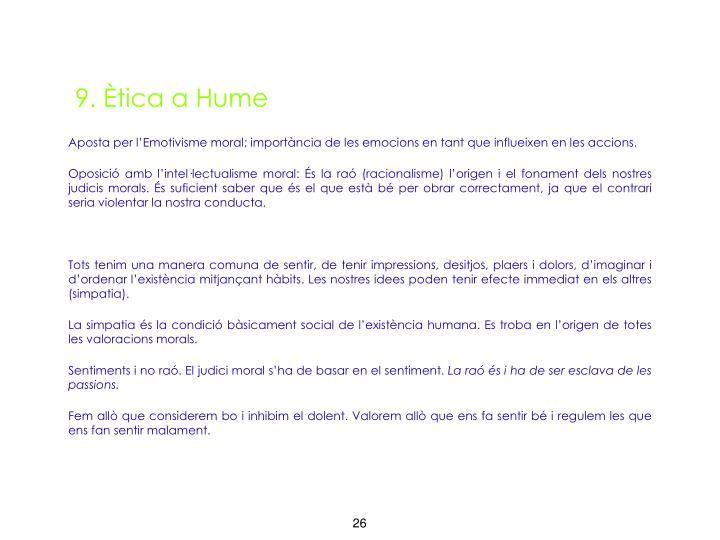 9. Ètica a Hume