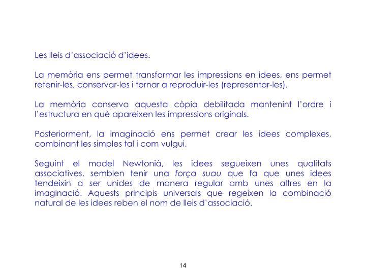 Les lleis d'associació d'idees.