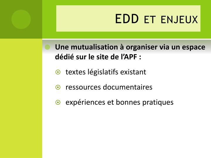 EDD et enjeux
