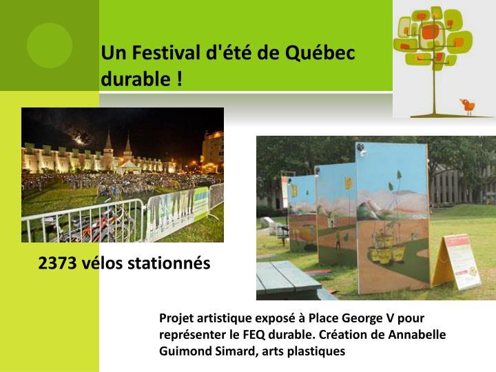 Un Festival d'été de Québec durable !