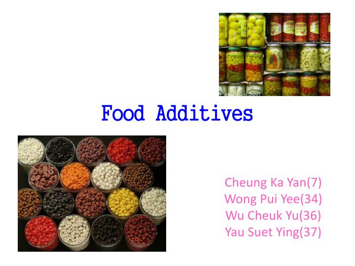 food additives The food additives covered by this standard and their maximum use levels are based in part on the food additive provisions of previously established codex commodity standards, or upon the request of.