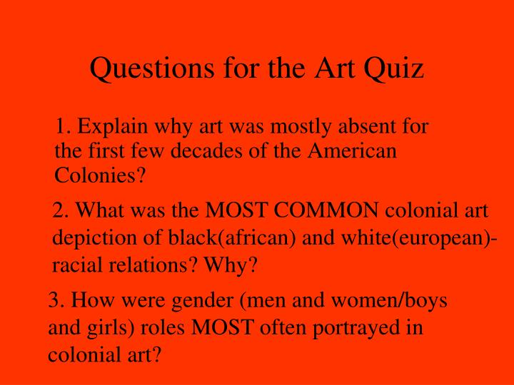 Questions for the art quiz