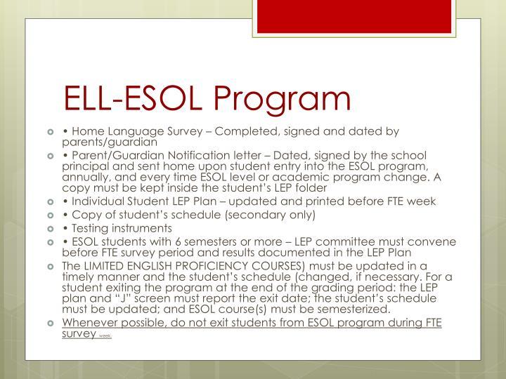 ELL-ESOL Program
