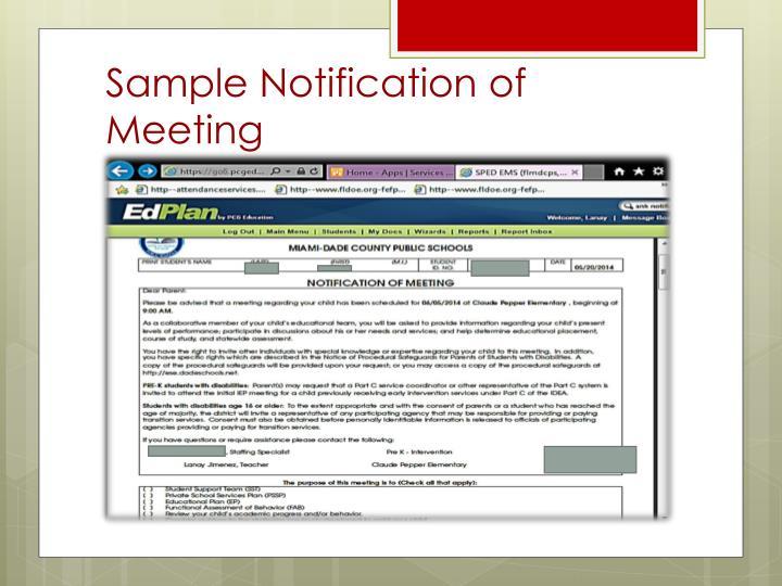 Sample Notification of Meeting