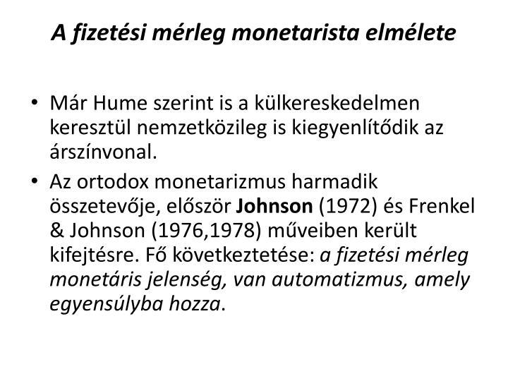 A fizetési mérleg monetarista elmélete