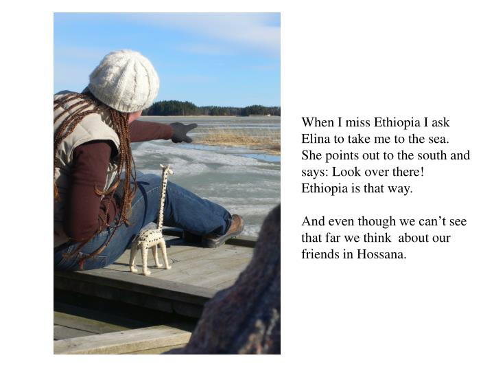 When I miss Ethiopia I ask Elina to take me to the sea. She points out to the south and says: Look over there! Ethiopia is that way.