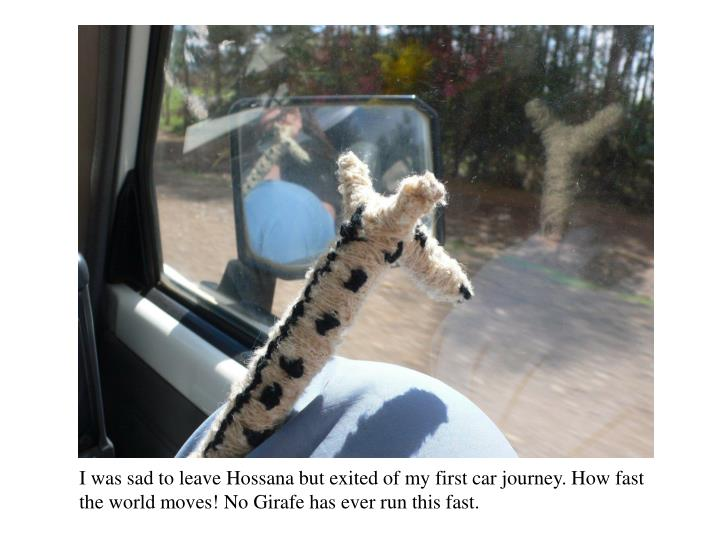 I was sad to leave Hossana but exited of my first car journey. How fast the world moves! No Girafe has ever run this fast.