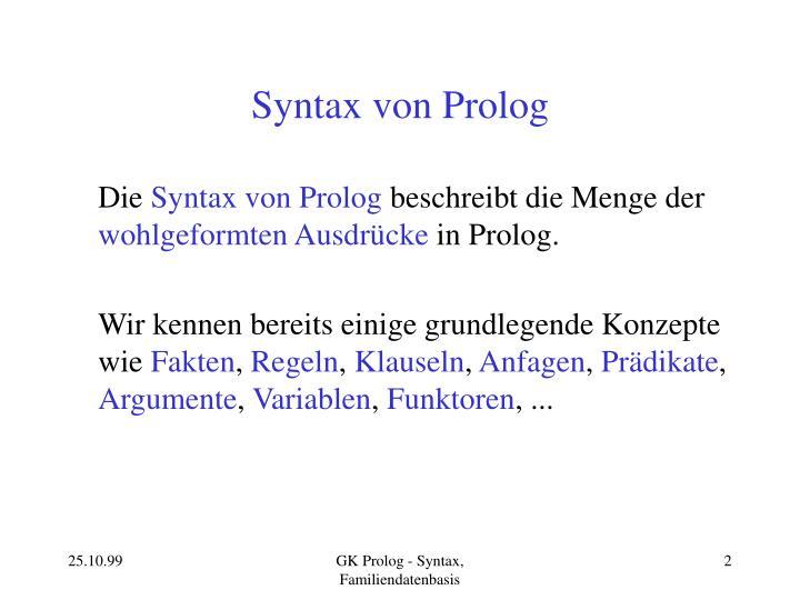 Syntax von prolog