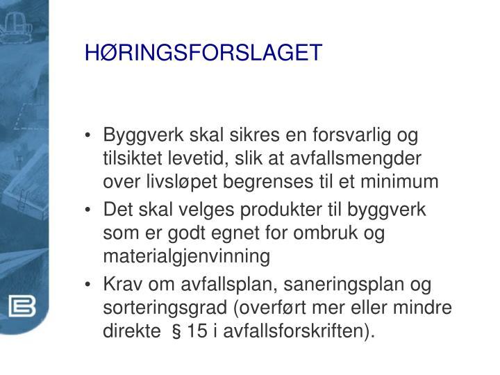 HØRINGSFORSLAGET