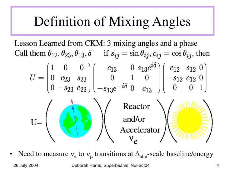 Definition of Mixing Angles