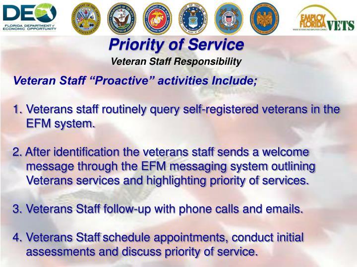 Veteran Staff Responsibility