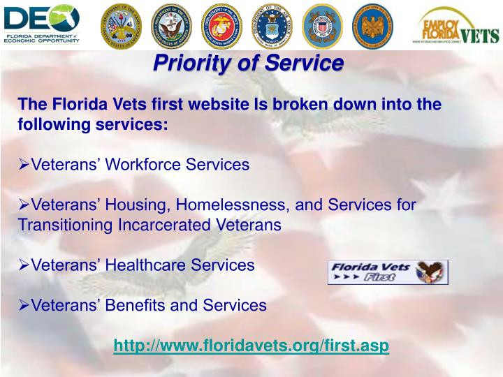 The Florida Vets first website Is broken down into the following services: