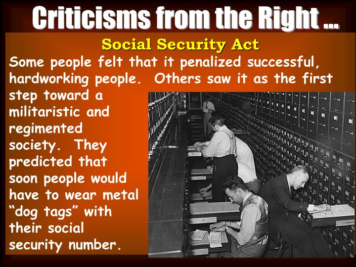Criticisms from the Right ...