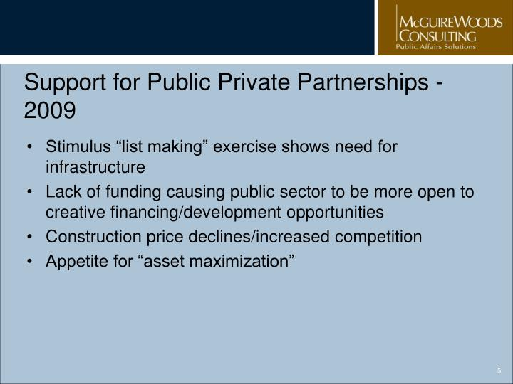 Support for Public Private Partnerships - 2009