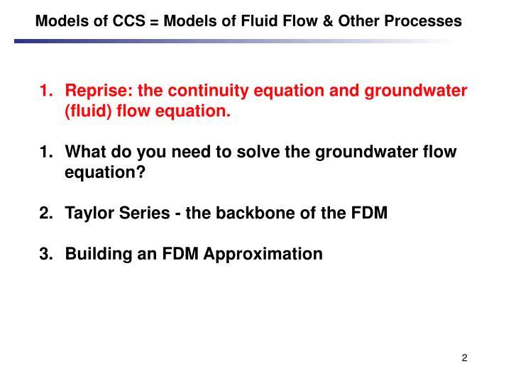 Models of CCS = Models of Fluid Flow & Other Processes