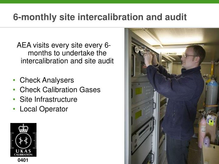 6-monthly site intercalibration and audit