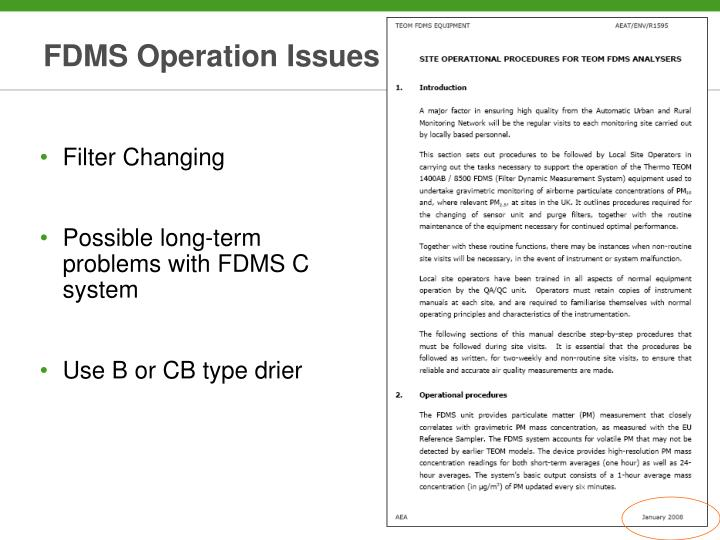 FDMS Operation Issues