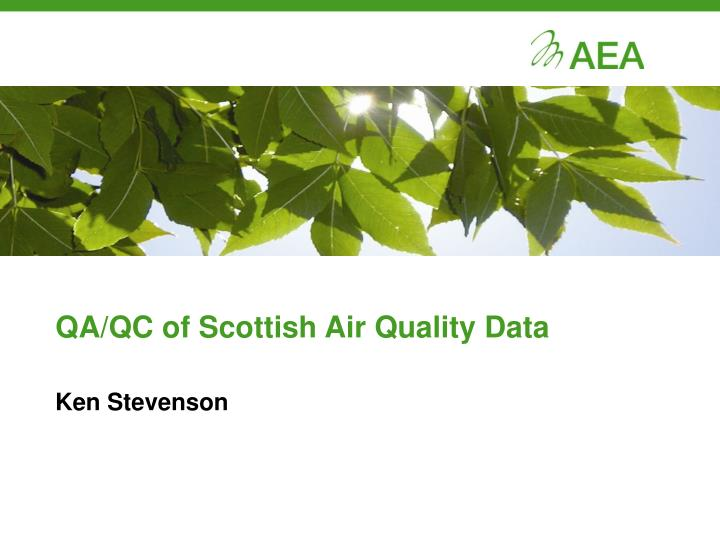 Qa qc of scottish air quality data