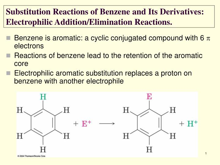 substitution reactions of benzene and its derivatives electrophilic addition elimination reactions n.