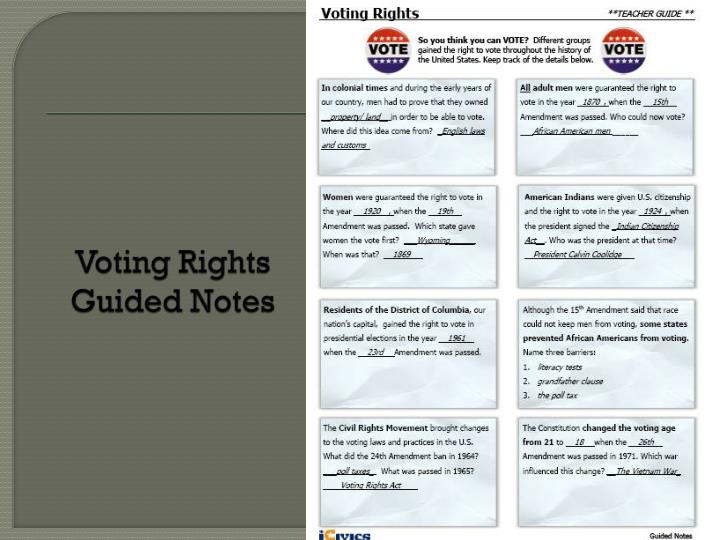 Voting Rights Guided Notes