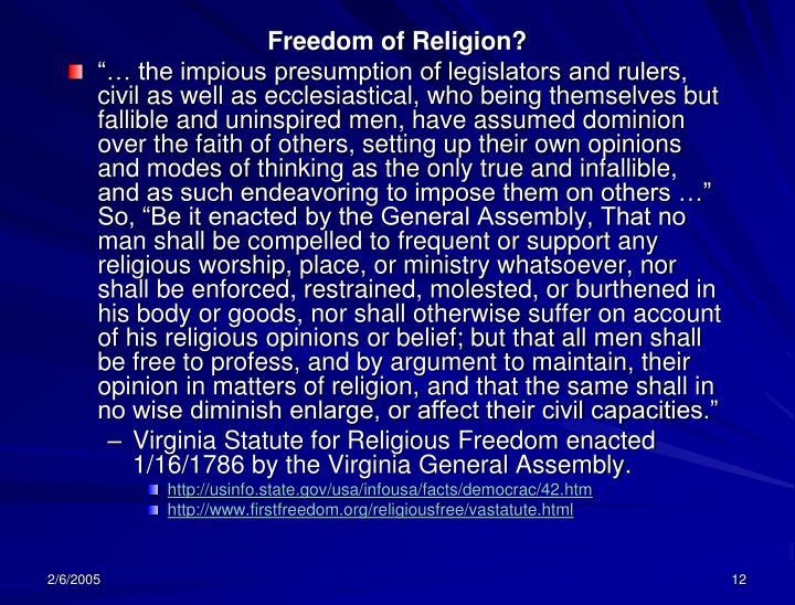 Freedom of Religion?