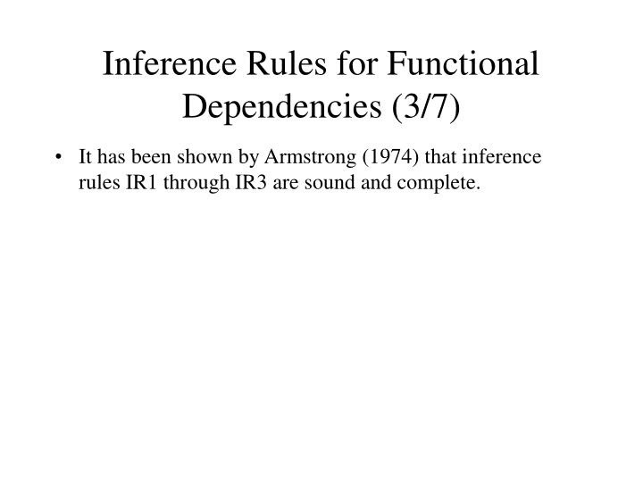 Inference Rules for Functional Dependencies (3/7)