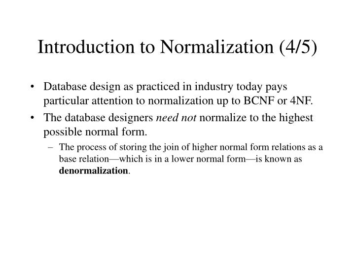 Introduction to Normalization (4/5)