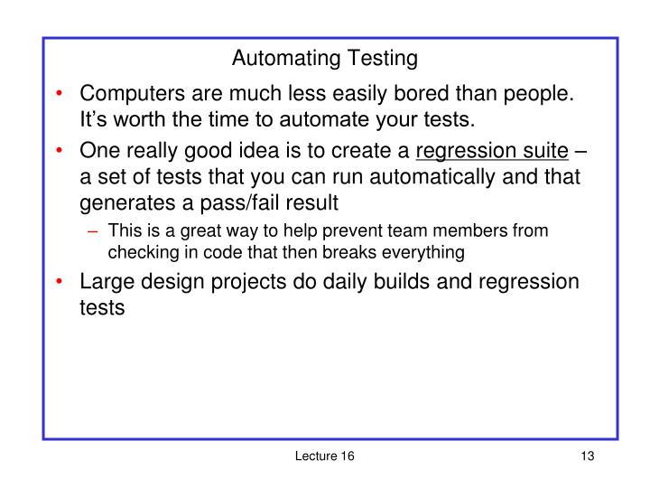 Automating Testing