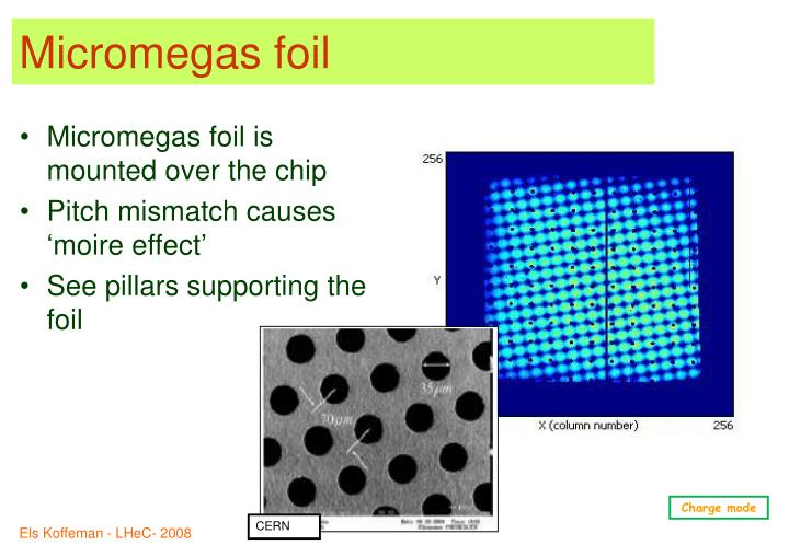 Micromegas foil is mounted over the chip