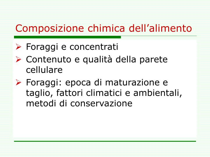 Composizione chimica dell'alimento