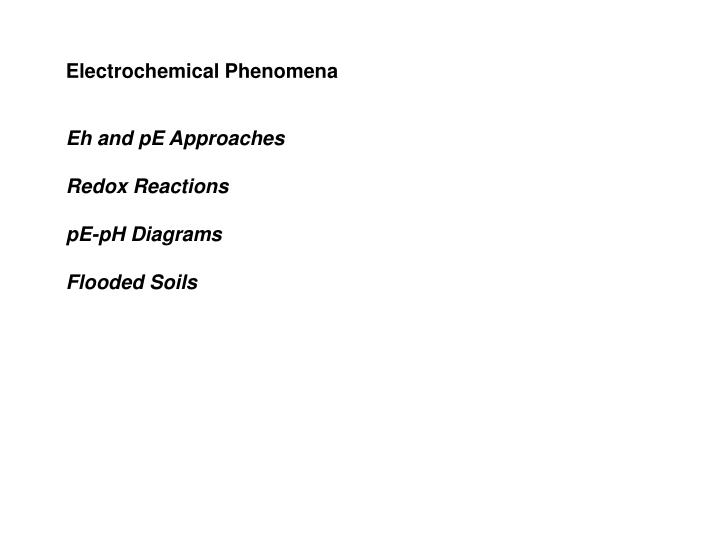Electrochemical Phenomena